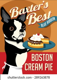 Illustrated poster of a Boston Terrier dog and fictitious bakery cake advertisement