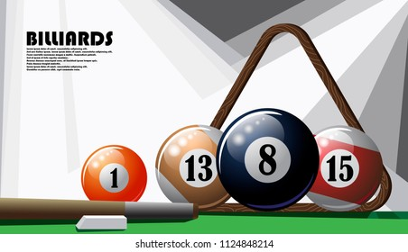 Illustrated poster on the topic of billiards