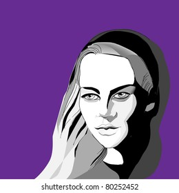 illustrated pretty woman - vector illustration