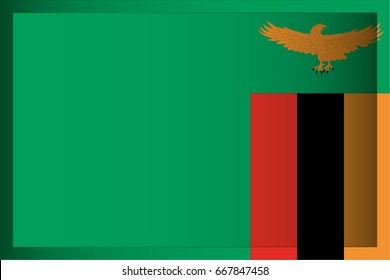 An Illustrated Rectangular 3D Flag for the Country of Zambia