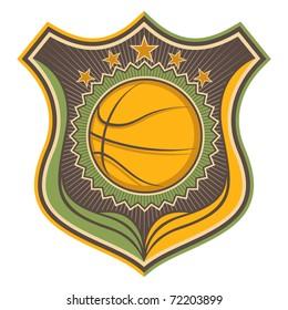 Illustrated retro basketball crest. Vector illustration.