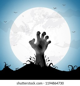 illustrated rising zombie hand in front of an white moon for halloween layouts