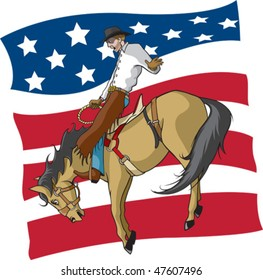 Illustrated saddle bronc rider with an abstract American flag background. Rider and flag are on separate layers. Vector file.