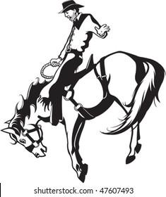 Illustrated saddle bronc rider. Black and white art. Vector file.
