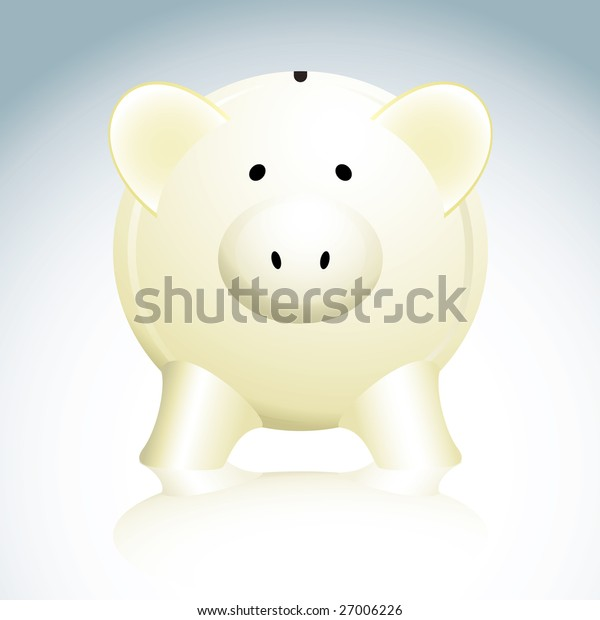 Illustrated savings piggy bank in yellow with a reflection