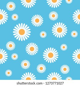 Illustrated seamless daisy flower pattern against a blue background.