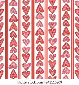 Illustrated seamless pattern made of hearts and stripes