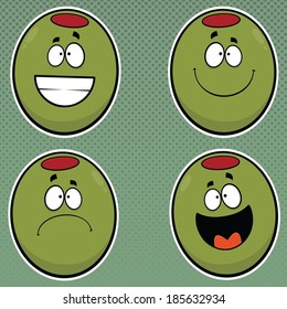 Illustrated set of cartoon green olives.