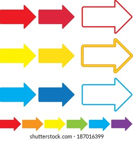 Illustrated set of multicolor vector arrows.