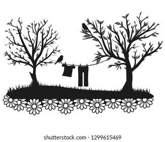 Illustrated silhouette of a spring scene with a clothes line between trees