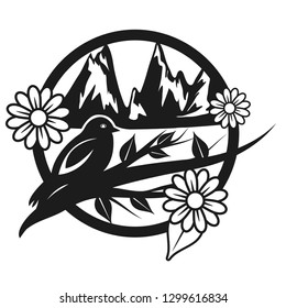 Illustrated silhouette of a spring scene in the mountains with bird and flowers