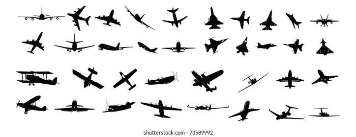 illustrated silhouettes of various types of planes