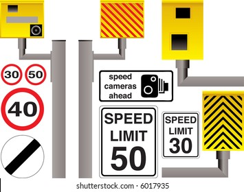 Illustrated speed camera selection with additional limit signs and warnings