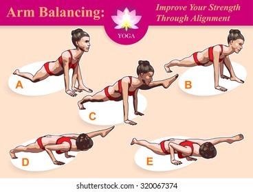 Illustrated step-by-step instruction for mastering Arm Balancing Split to practice yoga.