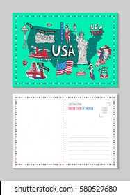 Illustrated symbol set with USA landmarks. Vector icons hand drawn,  postcard, background, American national symbols.