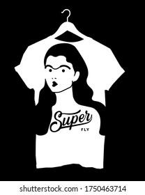 illustrated t shirt design for women - Super flt