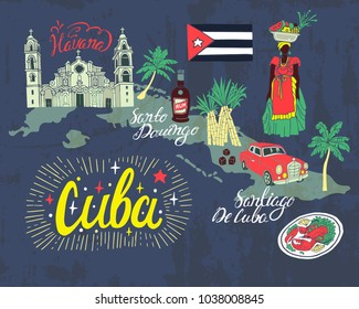 Illustrated tourist map of Cuba. National color, travel and attractions