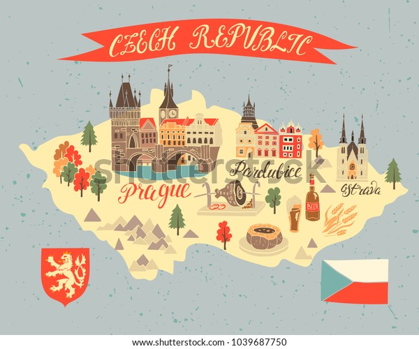 Illustrated Tourist Map Czech Republic National Stock Vector ... on illustrated wedding map, illustrated beach map, illustrated island map,