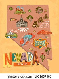 illustrated tourist map of Nevada, USA. Travel and attractions