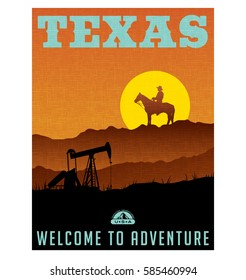 Illustrated travel poster or sticker for Texas with oil wells, rocky ridge and sunset