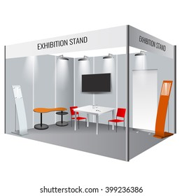 Illustrated unique creative exhibition stand display design with table and chair, info board, roll up. Booth template. Corporate identity. Display Mock-up.  Vector Mock-up