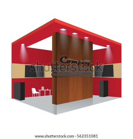 Exhibition Stand Free Vector : Illustrated unique creative wooden exhibition stand stock vector