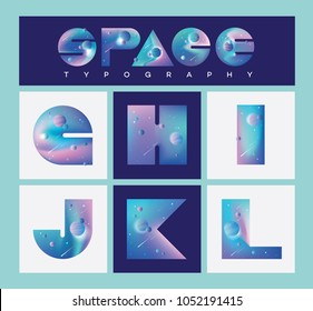 Illustrated universe vector letters with blue, pink and purple planets, comets and galaxies