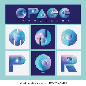 Illustrated universe vector letters with blue, purple and pink planets, stars and nebula