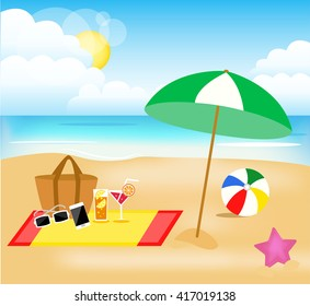 illustrated vector beach picture
