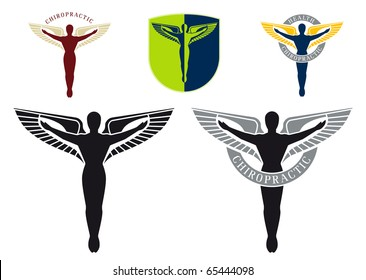 Illustrated vector caduceus with spreades wings emblem for chiropractic health care