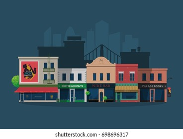 Illustrated vector city village street with shops and bars on a blue background. Cartoon street.