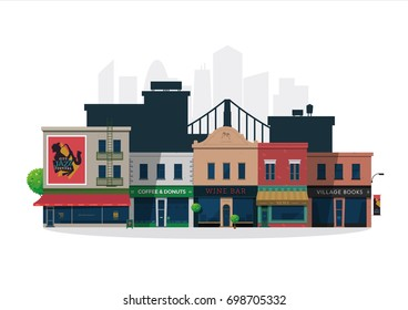 Illustrated vector city village street with shops and bars
