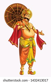 illustrated vector of Mahabali. He was a beloved king in the state of Kerala. He return to Earth once every year and it is called festival of Onam. Also called as Maveli