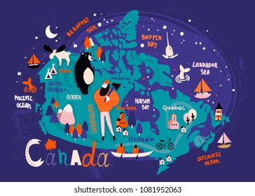 Illustrated vector map of Canada. Night version