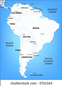 Illustrated Vector Map of South America