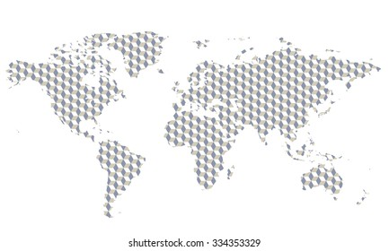 Illustrated vector world map with strange texture and pattern