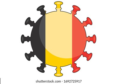 Illustrated Virus Flag for the Country of  Belgium