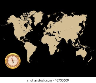 Illustrated world map with compass-vector