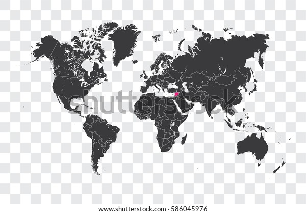 Illustrated World Map with the selected Country Shape of Syria