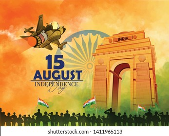 illustration of 15 august, Indian monument and Landmark for Happy Independence Day of India.