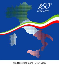 Illustration for the 150th anniversary of Italian unity, with a graphical map of Italy represented as LED spheres with Italian flag colors