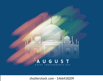 illustration of 15th August india Happy Independence Day. 72 years of Freedom