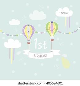 Illustration of 1st birthday for banner, invitation