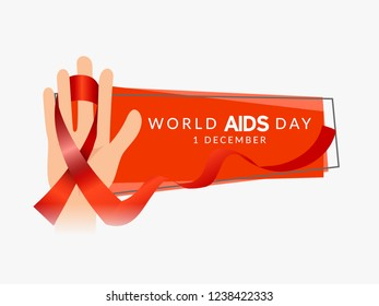 Illustration Of 1st December World Aids Day With Aids Awareness Ribbon.
