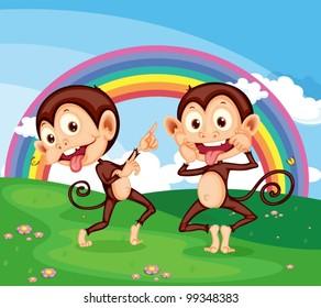 Illustration of 2 cheeky monkeys