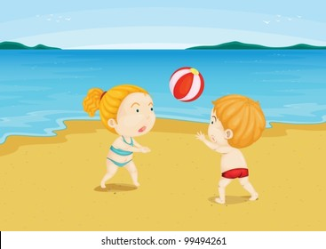 Illustration of 2 children at a beach