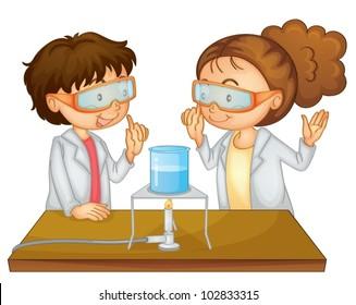 Illustration of 2 children doing science