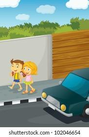 Illustration of 2 girls walking down the street