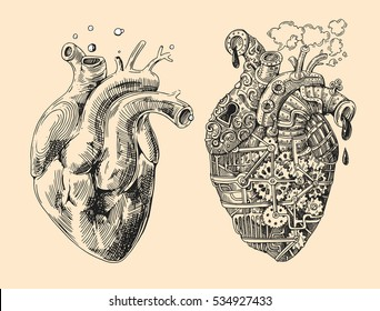 Illustration of 2 hearts mechanical and alive. Hand drawn vintage vector. Steampunk style. Us for print for t-shirt, smart phone, poster, web.Happy Valentine's Day card.