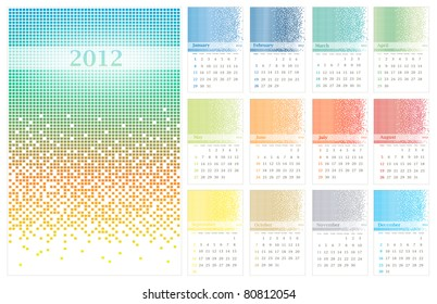 illustration of 2012 standard wall calendar (size 11x17 inch) with multicolored pixel decoration
